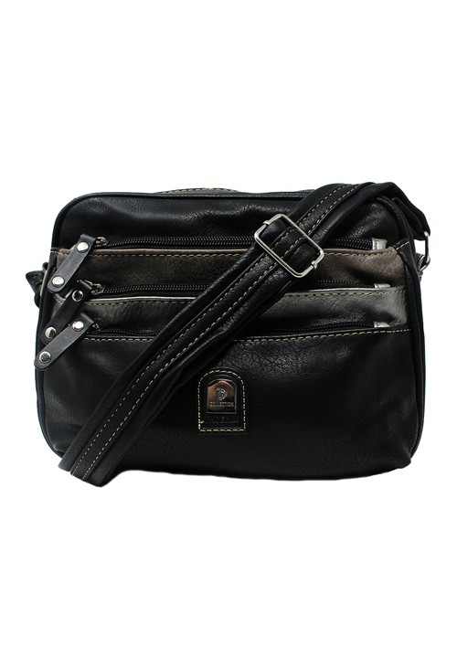 Pamela Scott Black Crossbody Bag with Front Pockets