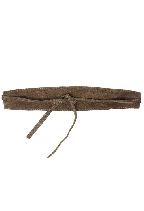 Pamela Scott Taupe Faux Suede Tie Belt