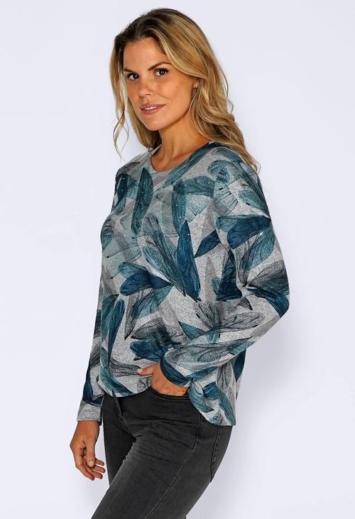 Sophie B Grey Knit Top with Teal Leaf Print