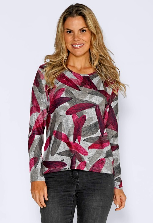 Sophie B Grey Knit Top with Leaf Print