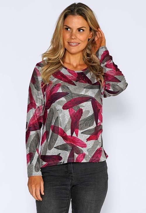 Sophie B Grey Knit Top with Leaf Print