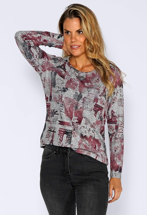 Sophie B Grey Knit Top with Paris Print