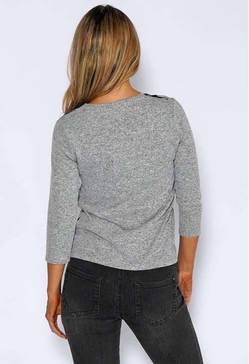 Sophie B Grey Knit Top with Floral Print