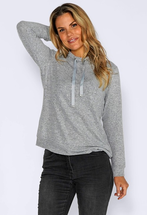 Twist Grey Knit Jumper with Diamante Detail