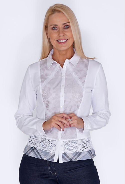 Tinta Style White Shirt with Lace Front and Checked Hem