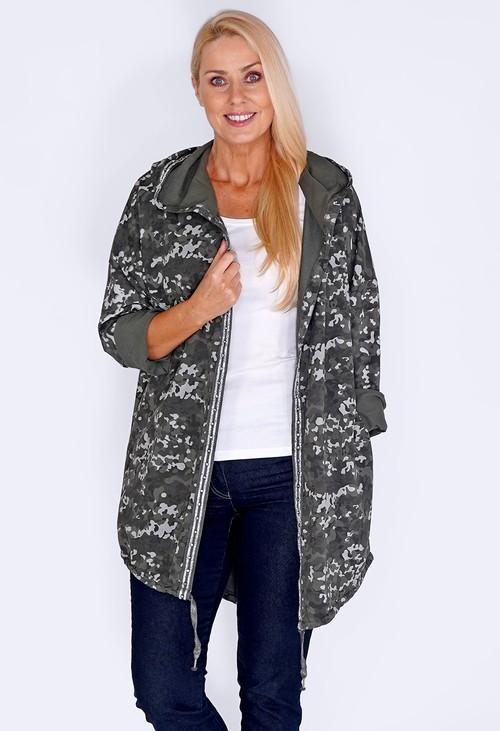Pamela Scott Khaki Midi Length Camouflage Coat with Diamante Details