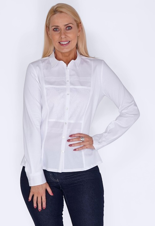 Tinta Style White Shirt with Front Lace Panels