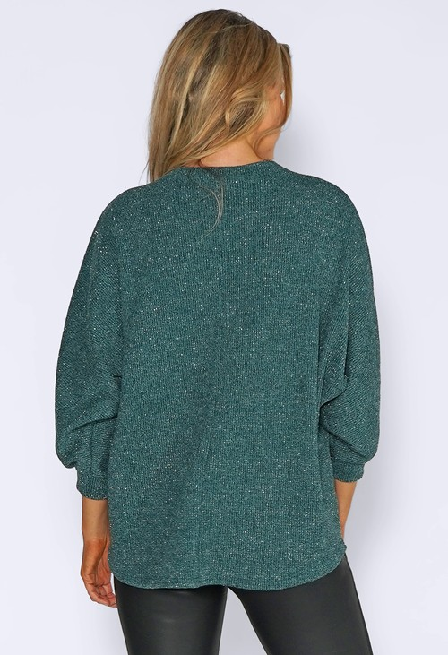 Sophie B Green Glitter Strand Zip Up Knit Jumper