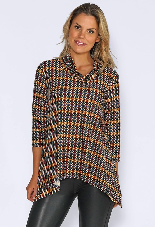 Sophie B Soft Cowl Neck Top with Hounds Tooth Print