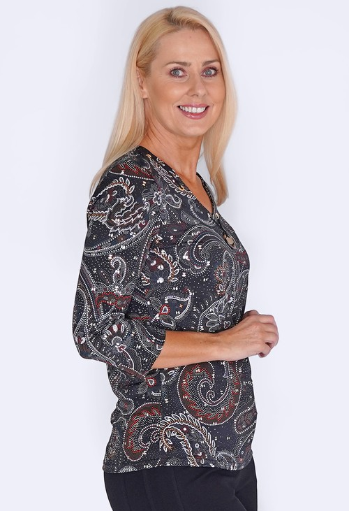 Sophie B Black Print Top with Metallic Details