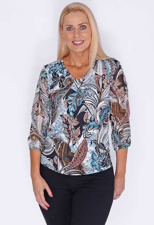 Sophie B Turquoise Top with Textured Print