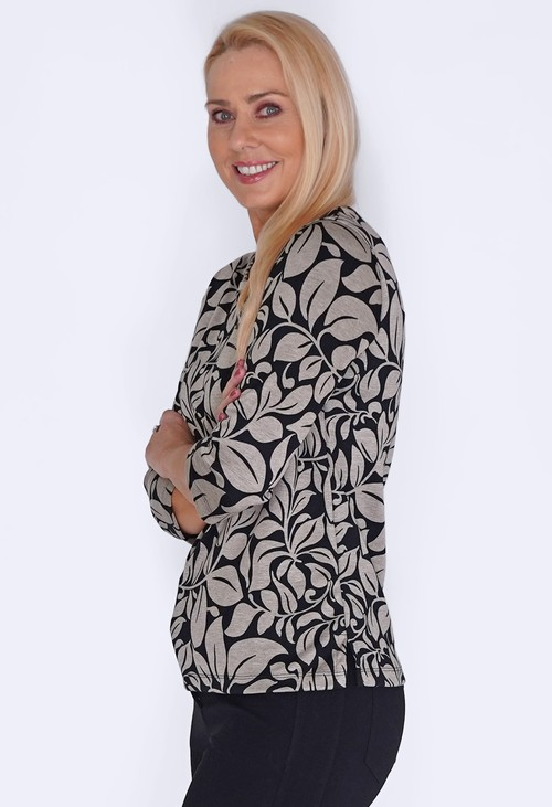 Bicalla Black and Sand Leaf Print Top