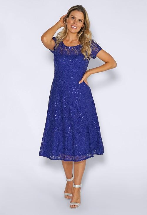 Pamela Scott Iris Sequin Lace Midi Dress