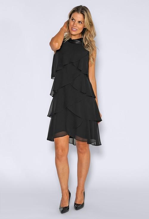 Pamela Scott Black Frill Dress