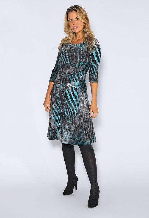 Zapara Teal Abstract Leopard Print Dress