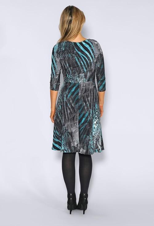 Zapara Teal Abstract Leopard Print Dress