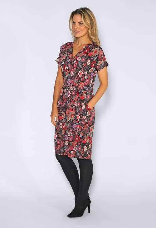 Zapara Red Floral Print Dress