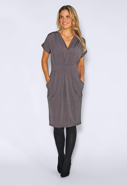 Zapara Grey Dress with Mini Geometric Print
