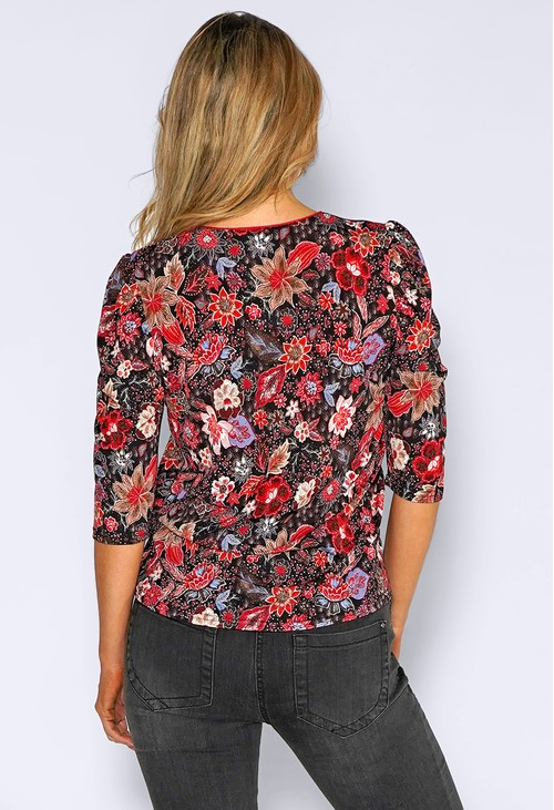 Zapara Red V-Neck Floral Print Top