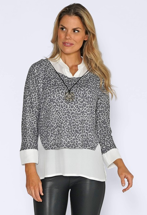 Sophie B Grey Leopard Jumper with White Shirt Detail