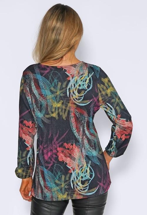 Sophie B Black Digital Print Pelisse Top