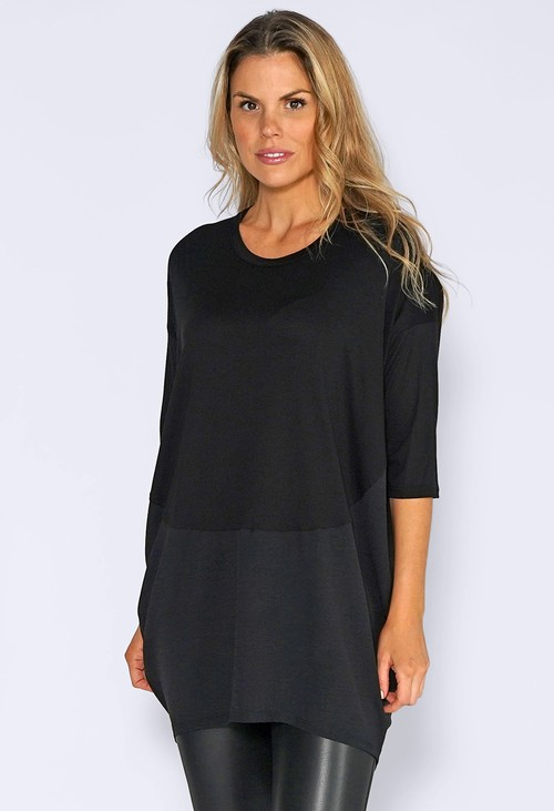 Sophie B Black Batwing Top with Panelled Hem