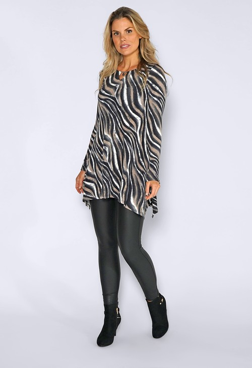 Sophie B Black Abstract Zebra Print Long Top