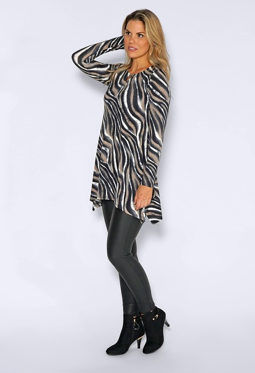 Sophie B Black Abstract Zebra Print Long Top