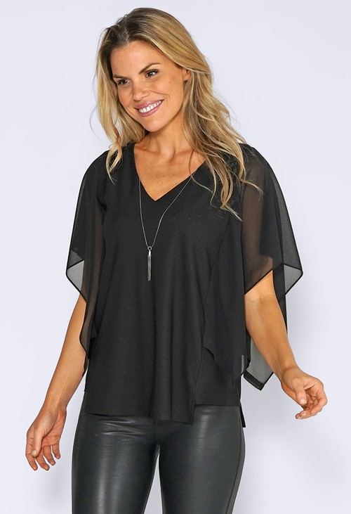 Zapara Black Chiffon Drop Top