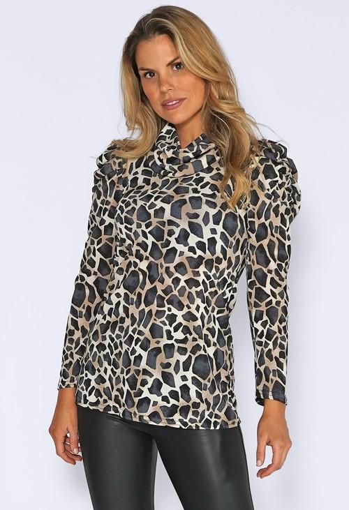 Zapara Black Block leopard Print Top