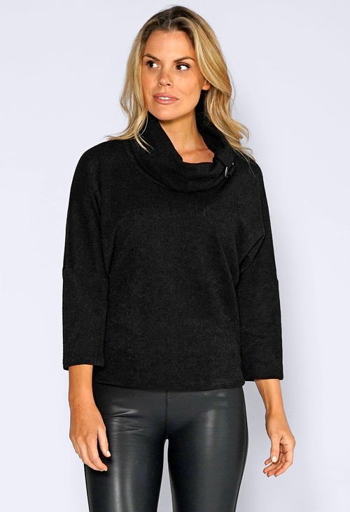 Sophie B Black Rolled Neck Knit Jumper