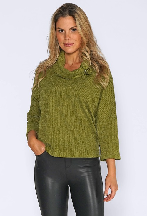 Sophie B Green Rolled Neck Knit Jumper