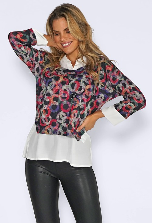 Sophie B Fuchsia Ring Print Knit Jumper with White Shirt Details