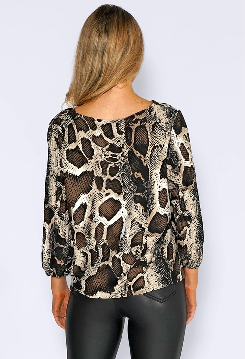 Zapara Brown Snake Print Top with Pleated Sleeves
