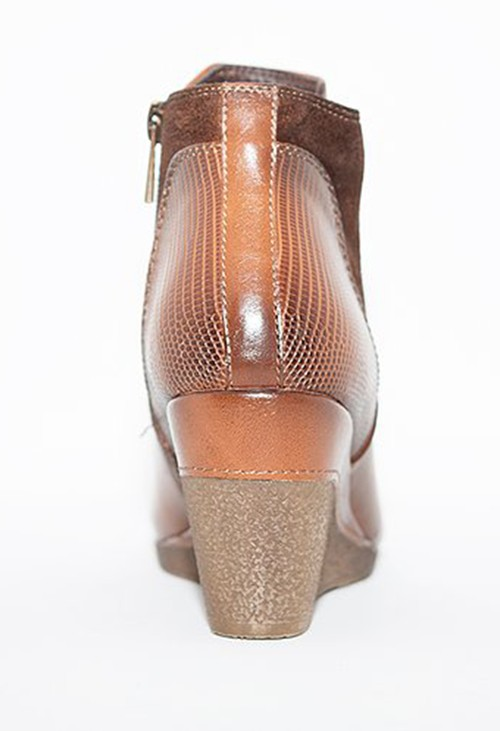 Susst Tan Leather Look Side Zip Wedge Ankle Boot