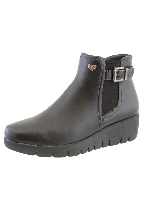 Susst Black Leather Look Side Zip Low Wedge Ankle Boot