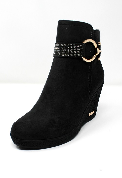 Shoe Lounge Black Microfibre Side Zip Ankle Wedge Boot