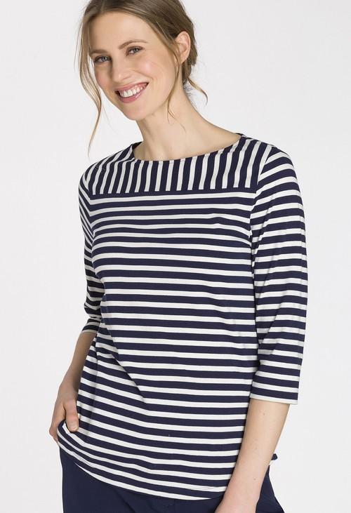 Olsen Round Hem Striped T-Shirt