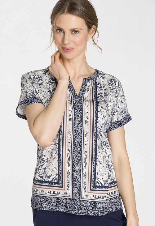 Olsen Snake and Border Print T-Shirt
