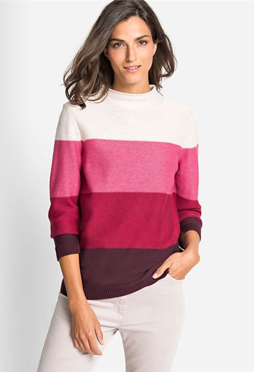 Olsen Stand Up Collar Sweater with Block Stripes