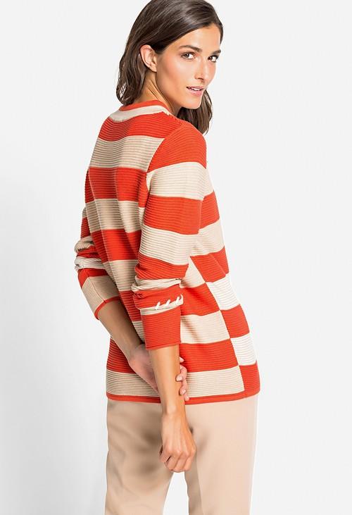 Olsen Pumpkin Broken Stripe Sweater