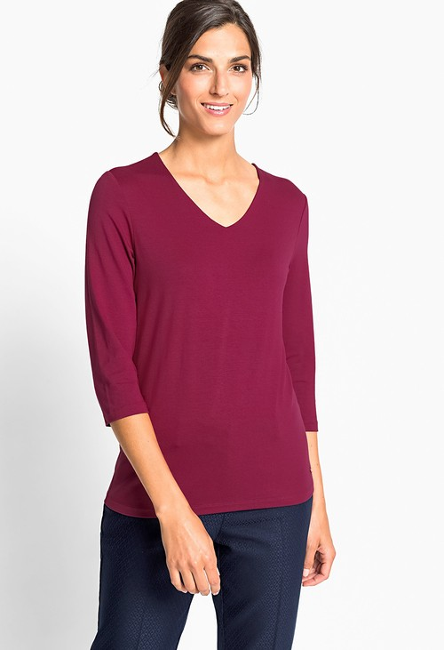 Olsen Purple V-Neck T-Shirt