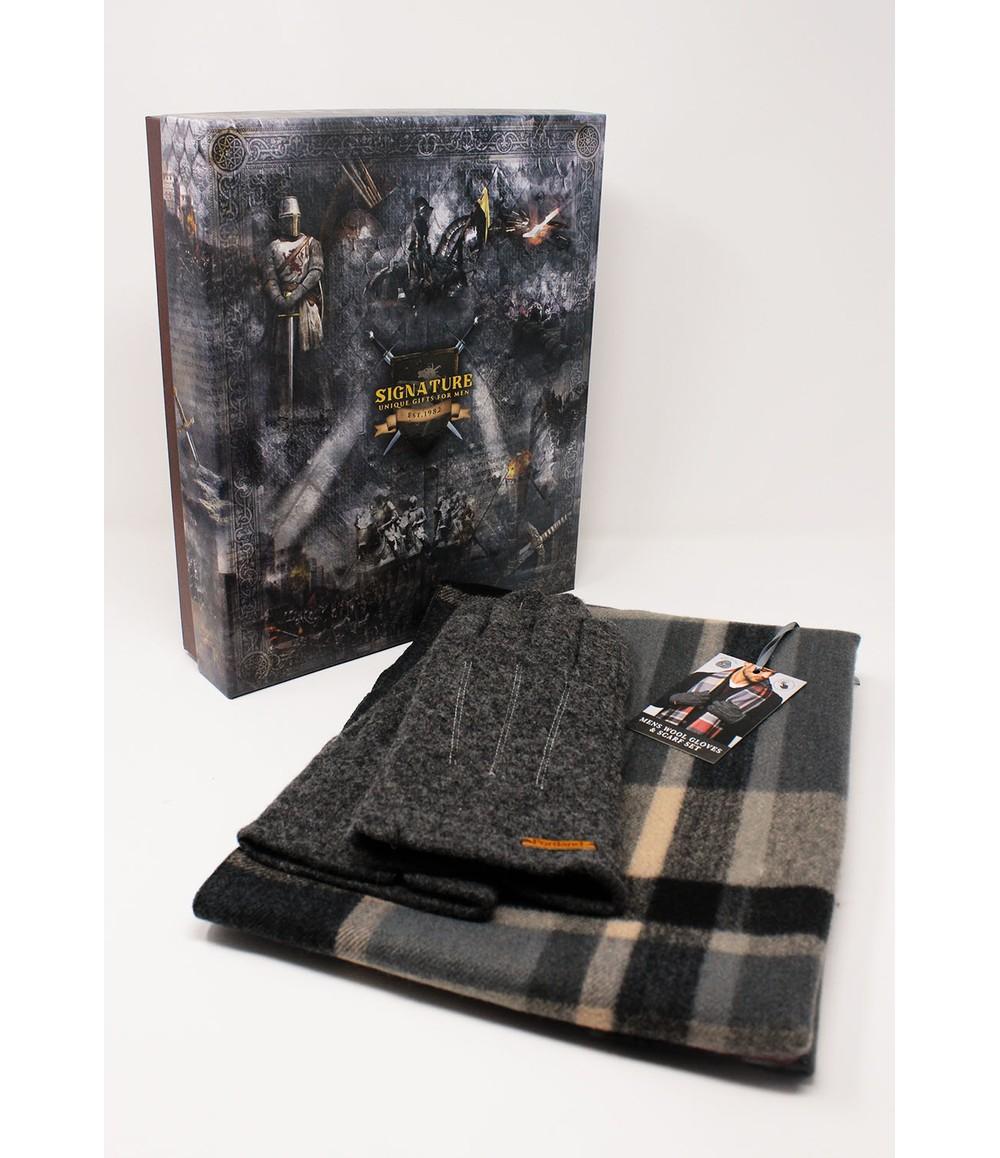 Something Special Men's Dark Grey Wool Gloves and Scarf Set