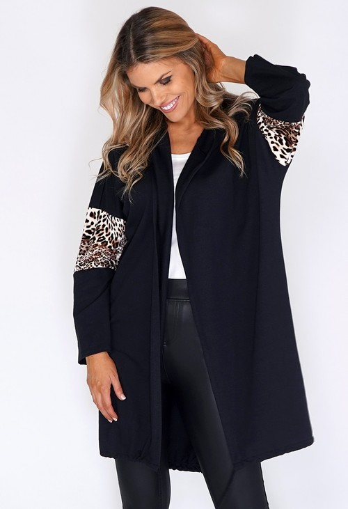 Zapara Black Coat with leopard Panelled Sleeve