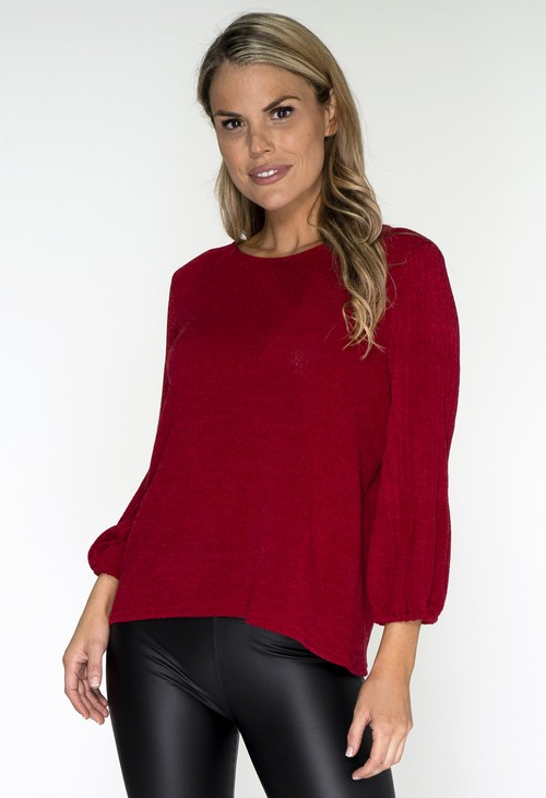 Zapara Red Plisse Sleeve Knit Top