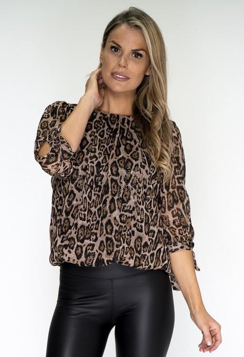 Zapara Leopard Print Pleated Blouse