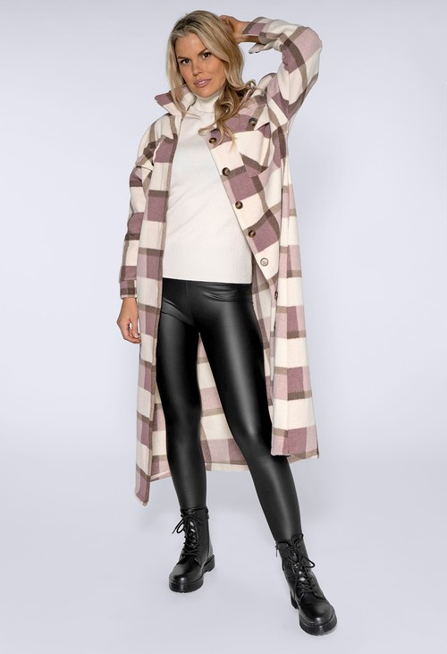 Pamela Scott Lilac and Antique Pink Checked Long Coat