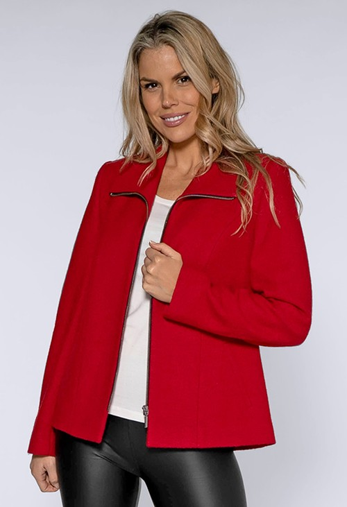Pamela Scott Red Boiled Wool Jacket