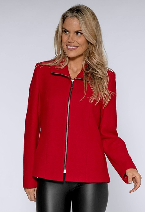 Pamela Scott Red Boiled Wool Jacket