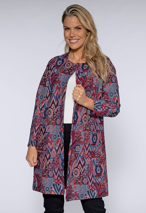 Sophie B Red and Blue Geometric Print Coat